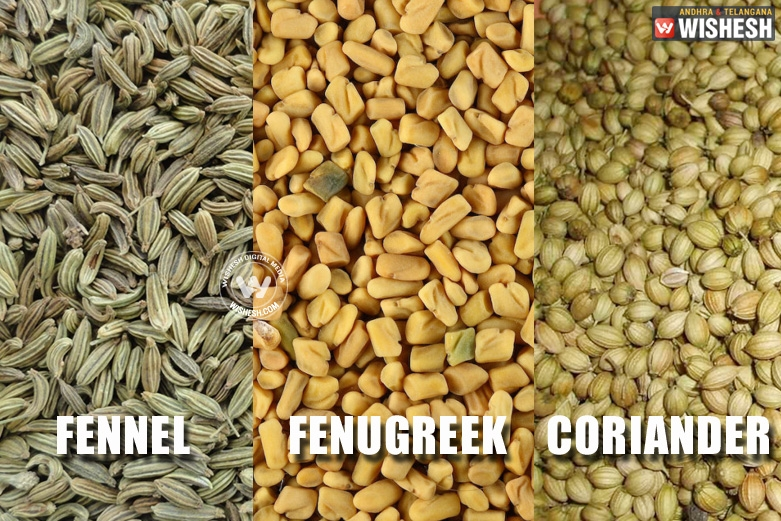 Fennel, Fenugreek and Coriander, healthy and tasty